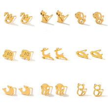 Gold Color Stainless Steel Stud Earrings for Women Men Small Fashion Punk Animal Earings Studs Gifts