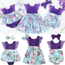 Family Matching Outfits Summer Newborn Baby Girl Sister Clothes Floral Dress Romper Jumpsuit