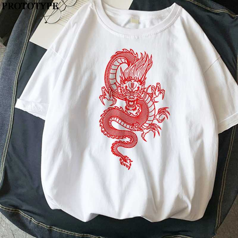 Chinese Draak Print T-shirt Harajuku Oversized Esthetische Vintage T Shirts Vrouwen Ulzzang Zomer Streetwear Kleding Casual Tops