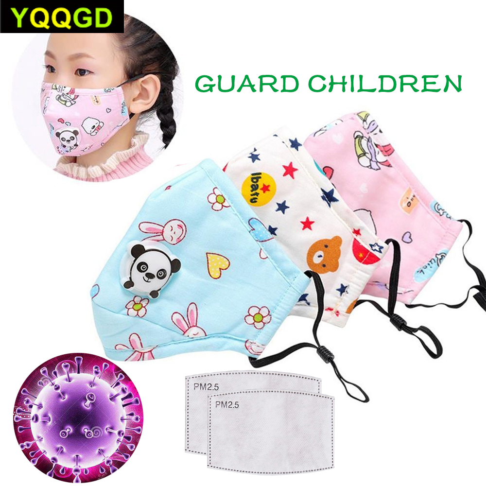 1Pcs PM2.5 Winter Children Mask Respiratory Valve Cartoon Panda Thicken Smog Mask Warm Dust Mask Fits 2-10 Years Old Kids