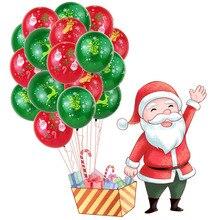 10 PCS 12Inch Christmas Printing Red Green Santa Xmas Helium Balloons Latex Decorations kids Balloon Party Theme Decor Supplies