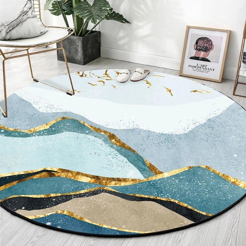 abstrait paysage rond petits tapis salon canape chaise antiderapant tapis de sol chambre suspendu panier chaise bleu decor a la maison tapis