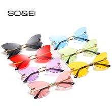 SO&EI Unique Rimless Women Sunglasses Brand Designer Clear O