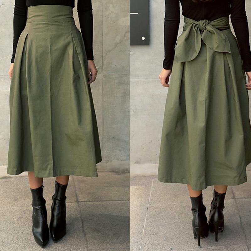 Skirts Womens Korean Fashion Solid Color Big Swing Ladies Skirt Long Skirt 2020 Autumn Wild High Waist Bow Slim Skirts 2020