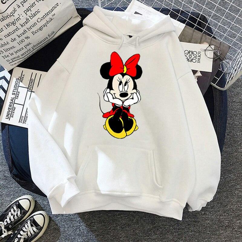 Disney Women Hoodies Minnie Mickey Mouse Hoodies Cartoon Tops Long Sleeve Pockets Sweatshirts Fashion Hooded Women 38
