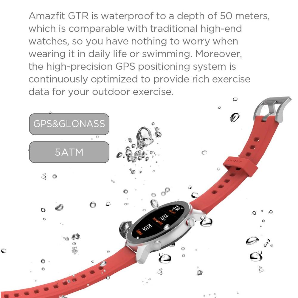 Versión Global Amazfit GTR 47mm reloj inteligente 5ATM reloj inteligente impermeable 24 días batería Control de música cuero silicona Correa - 6