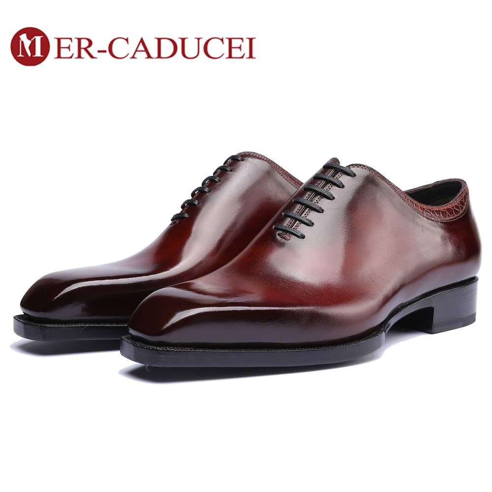 Dress Shoes Men Genuine Leather Vintage Retro Custom Blake Handmade Office Fashion Formal Wedding Party Oxford Shoes