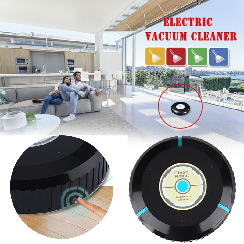 Cleaner Robot Cleaning Home Automatic Mop Dust Cleans Sweeping Black