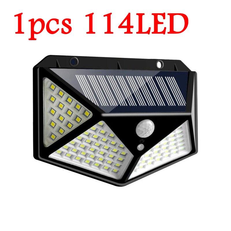114/100 светодиодный солнечный светильник уличный светильник на солнечной энергии с движения PIR Сенсор настенный светильник Водонепроницаемый солнечный светильник питание садово-уличный светодиодный светильник - Испускаемый цвет: 1pcs 114LED