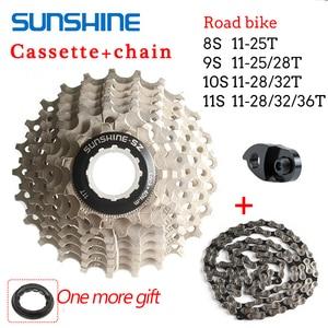 SUNSHINE KMC Road Bike Cassette 8/9/10/11Speed Bicycle Flywheel Chain 11-25/28/32/36T Sprocket For Shimano SRAM