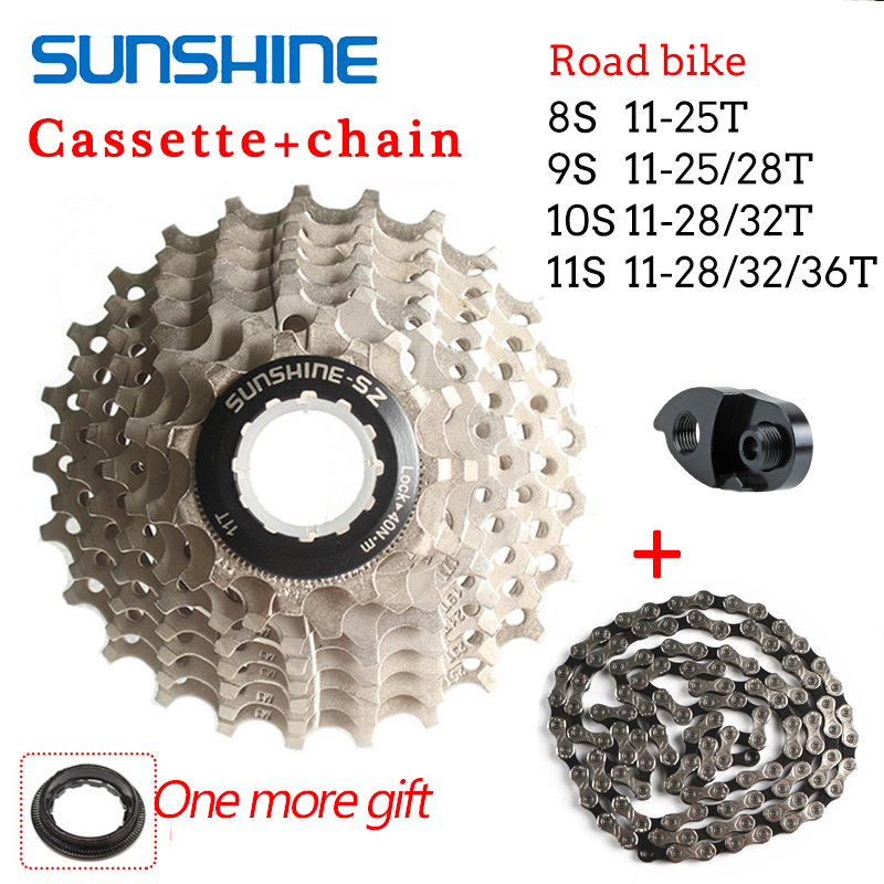 SUNSHINE KMC Road Bike Cassette 8/9/10/<font><b>11Speed</b></font> Bicycle Flywheel Chain 11-25/28/32/36T Sprocket For Shimano <font><b>SRAM</b></font> image