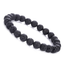8MM Black Natural Lava Stone Beads Bracelets For Women Men Classic Elastic Hand Jewelry DropShipping