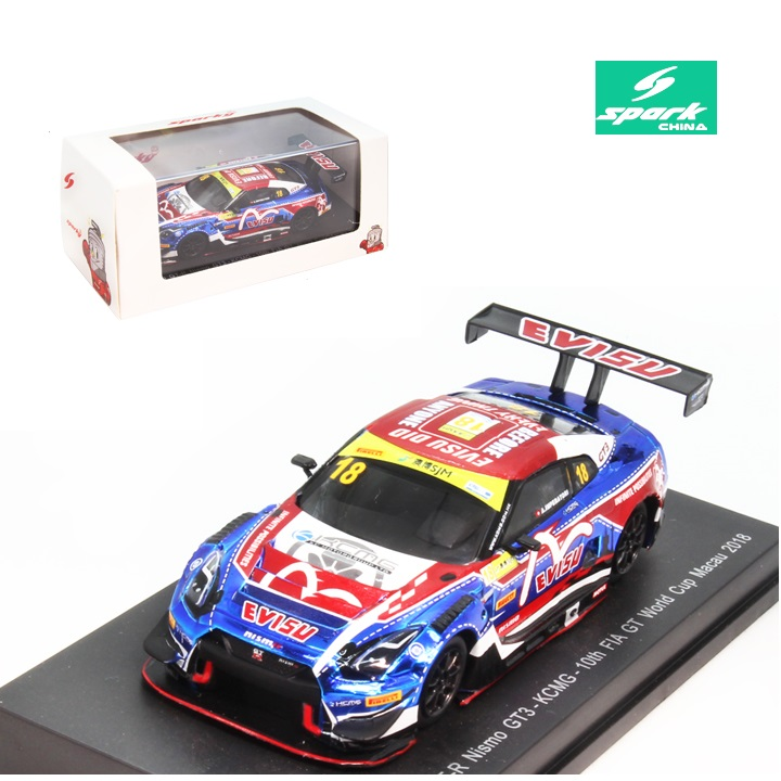 Spark 1:64 <font><b>Nissan</b></font> GT-R Nismo GT-R GT3 No.18 KCMG 10th FIA GT World Cup Macau 2018 <font><b>Diecast</b></font> Model <font><b>Car</b></font> image