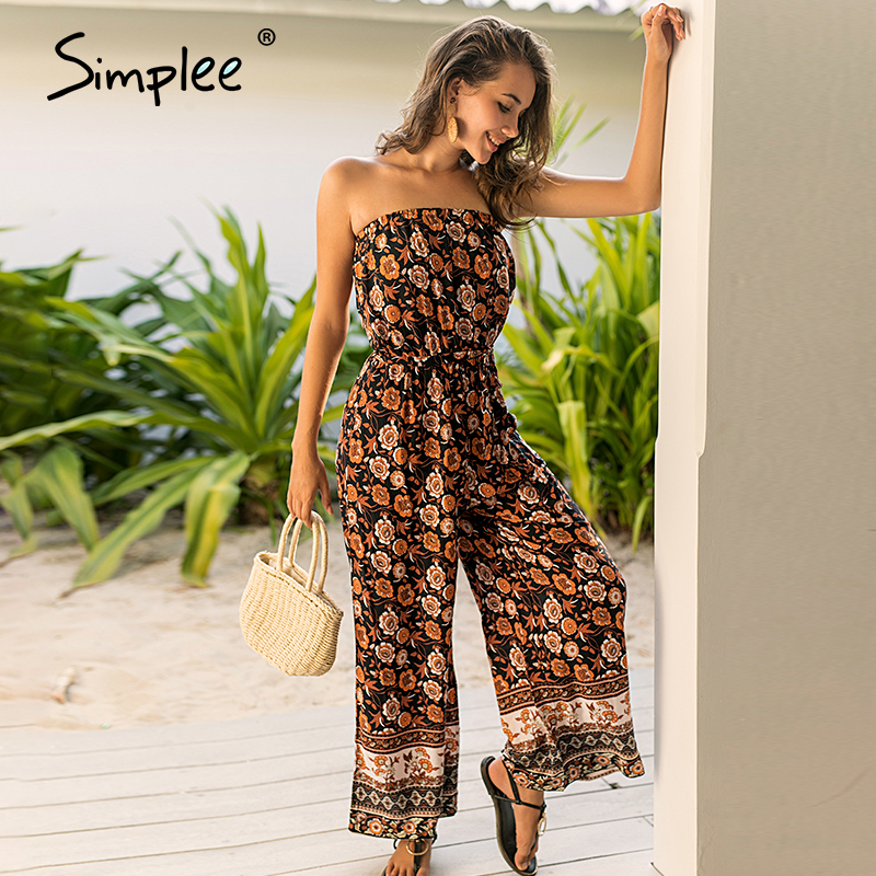 Simplee Bohimian Print Women Strapless Long Jumpsuit Casual Loose Female Tube Sashes Rompers Summer Beach Style Ladies Overalls