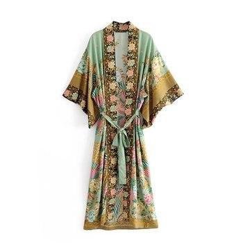 Kimono bohemio con estampado floral de pavo real para mujer, ropa de playa con manga de murciélago, con cuello de pico y borlas, para verano