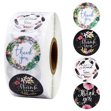 Stickers Cute Stationery Scrapbooking Seal-Labes Thank-You Floral 100-500pcs for 1inch