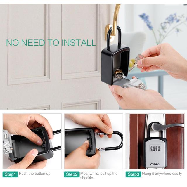 ORIA Password Key Box Outdoor Key Safe Lock Box Decoration Key Code Box Key Storage Lock Box Wall Mounted Password Box 4