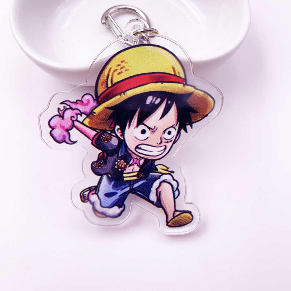 Mignon Anime dessin animé une pièce porte-clés Double face acrylique porte-clés femmes et hommes enfants porte-clés cadeau pendentif bijoux Porte Clef