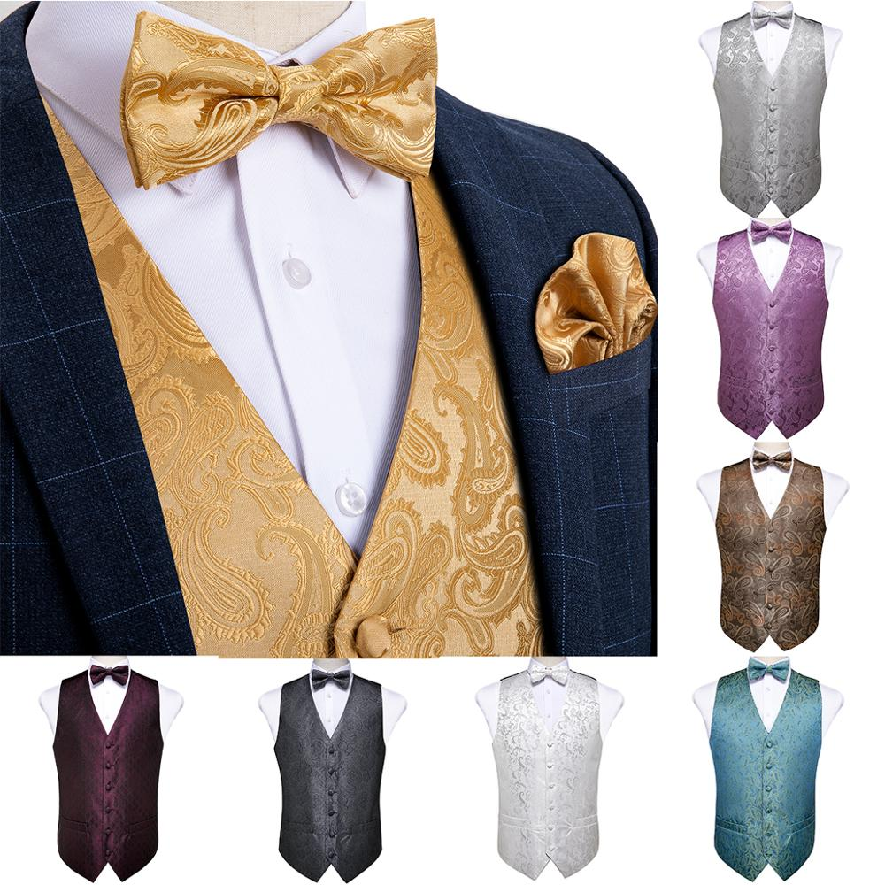 Men's Silver Gold Black Paisley Classic Party Wedding Jacquard Waistcoat Vest Pocket Square Tie For Suit Tuxedo DiBanGu