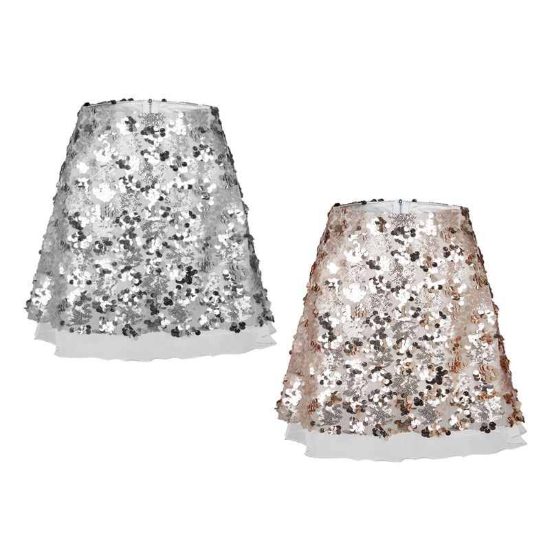 Fashion Casual Wild Lady A-word Skirt New Women Mesh Gauze Sequin Skirts
