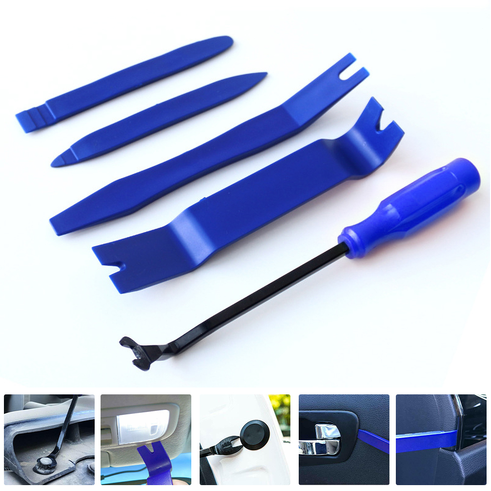 Detectorcatty Auto Door Clip Panel Trim Removal Tool Kits Navigation Disassembly Seesaw Car Interior Plastic Seesaw Conversion Tool 4 Sets