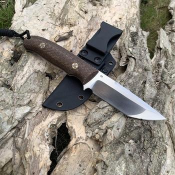 TUNAFIRE Newest D2 EDC  Fixed Hunting Knife  Micarta handle Fishing Outdoor tool   Send High Quality Kydex Sheath 2