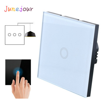 Junejour Touch switch EU/UK Standard White Crystal Glass Panel Touch Switch Ac220V 1 Set 1/2/3 Way Wall light Wall Touch Screen touch switch black pearl crystal glass panel switch digital light switches wall switch uk standard