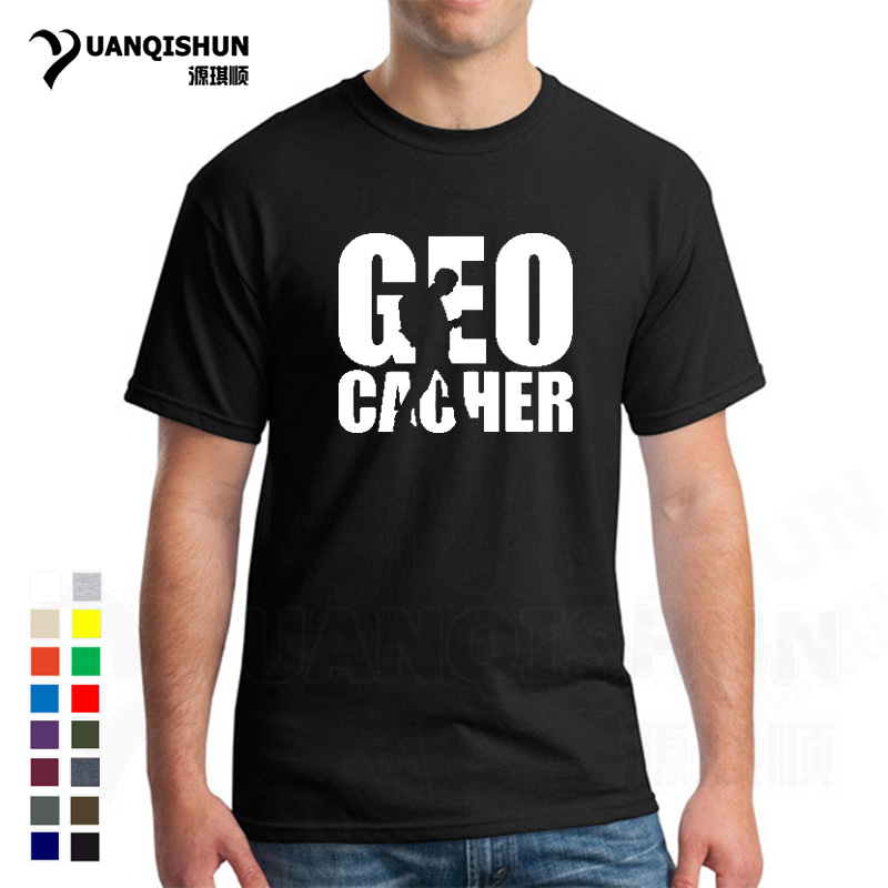 Summer New Geocacher Tshirt Fashion 16 Colors Men Funny Cool Short Sleeve Cotton T Shirts Geocaching Letter Printing Man T-shirt