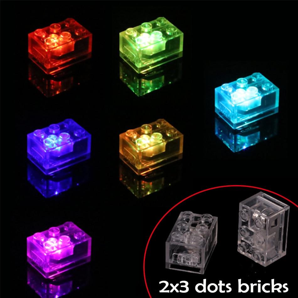 10/20PCS 2x3 Dots Muilti Color Flash LED Light Bricks DIY Parts Compatible Legoed Classic MOC Educatioanl Building Blocks Toys