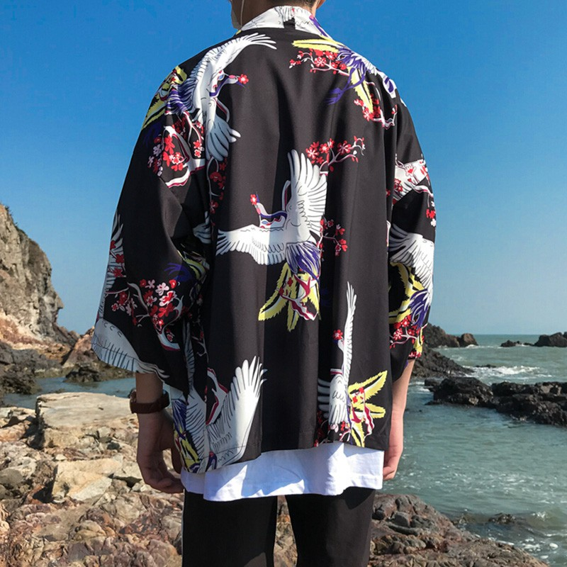 Men Women Casual Loose Sunscreen Cardigan Japanese Style Kimono Fashion Dragon Printed Japanese Clothing