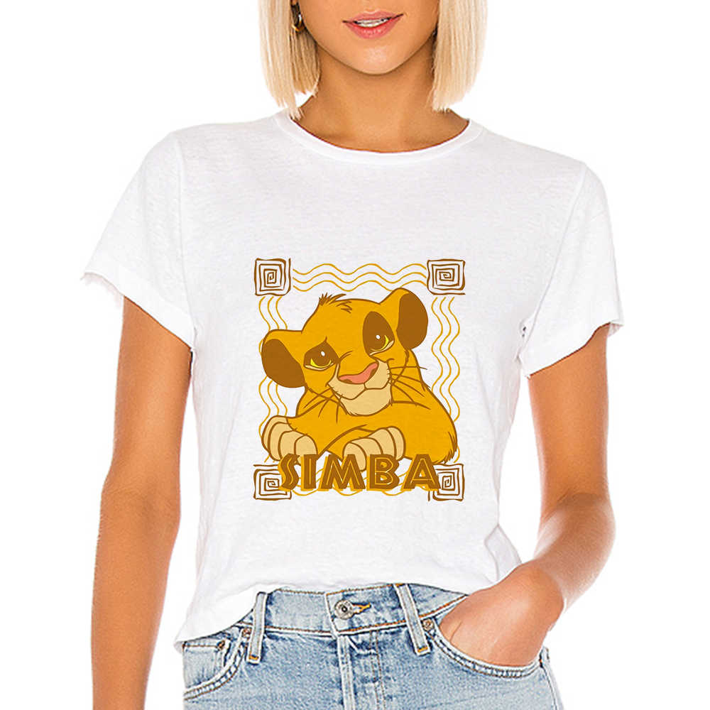 Trendy Retro Rotondo del Collare T-shirt Primavera Estate Tee shirt Bella Maglietta ropa mujer Disney Il Re Leone T-shirt