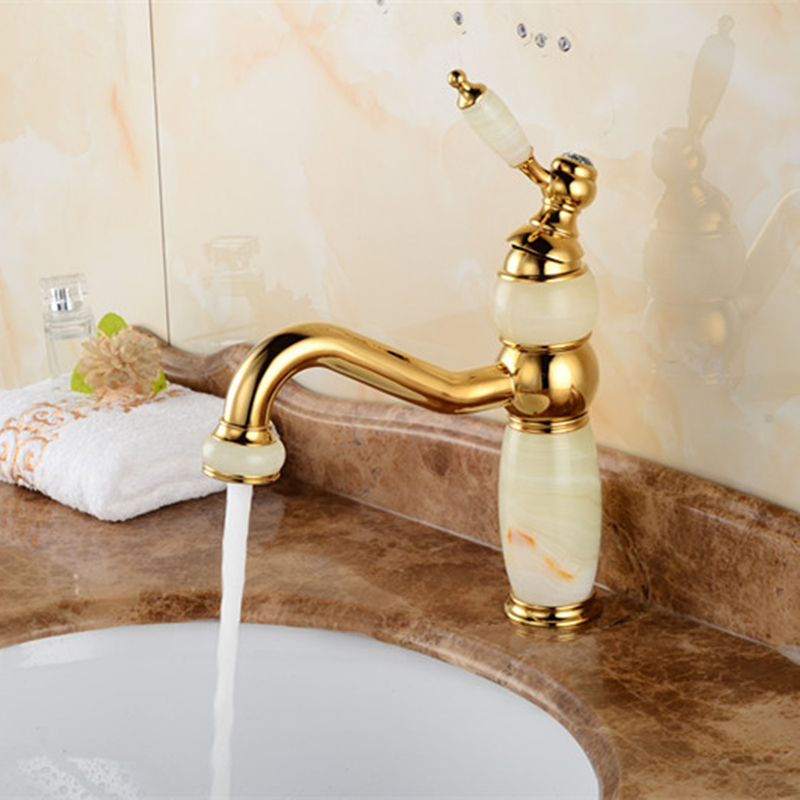 Natural Jade Faucet European-style Gold-plated Single-hole Faucet Face Pot Electric and Hot Water Faucet