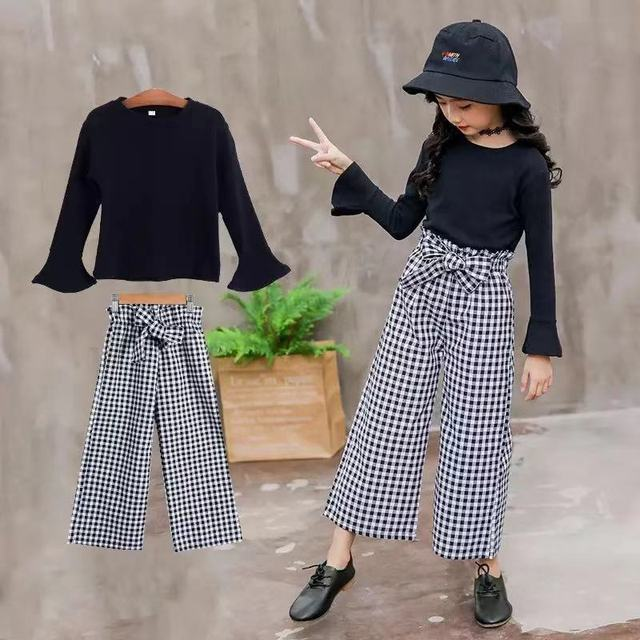 2019 Kids Girls Clothes Sets Long Sleeve T-shirts + Plaid Wide Leg Pants  Autumn Children's Clothing Teenage for 7 8 10 12 Years 2