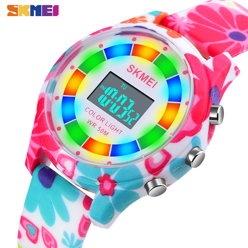 SKMEI Creative Kids Watches Fashion Digital Children Watch Stopwatch Alarm Clock For Boy Girl Luminous Waterproof Relogio 1596