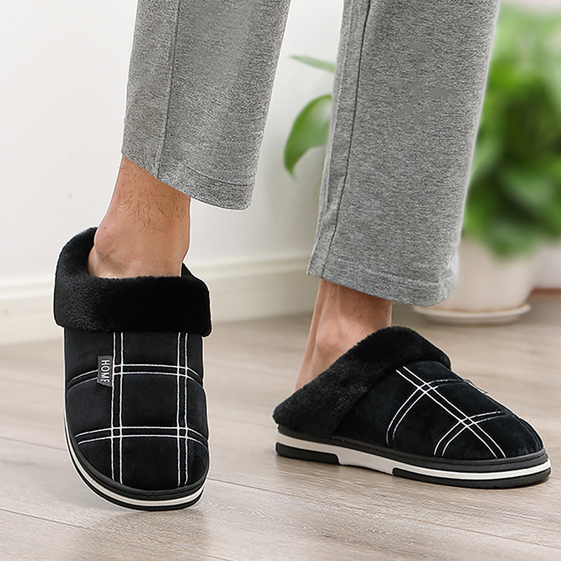 Slippers men Gingham Warm Winter man 39 s slippers Sturdy Sole Light Weight house Slippers man Soft Velvet Indoor slippers Non slip in Slippers from Shoes