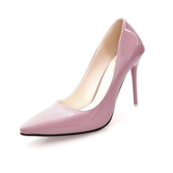 Modne szpilki modne damskie czółenka seksowne damskie jednokolorowe buty ślubne ze skóry lakierowanej dla kobiet tanie i dobre opinie HYVAKAONE Podstawowe Cienkie obcasy CN (pochodzenie) Patent leather Super Wysokiej (8cm-up) Pasuje prawda na wymiar weź swój normalny rozmiar