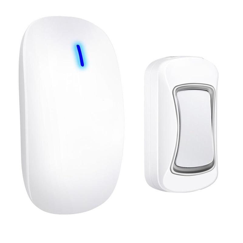 ABKT-Intelligent Wireless Doorbell Waterproof 300M Remote Long Range Door Bell 1x Outdoor Transmitters 1x Indoor Receiver(Us Plu