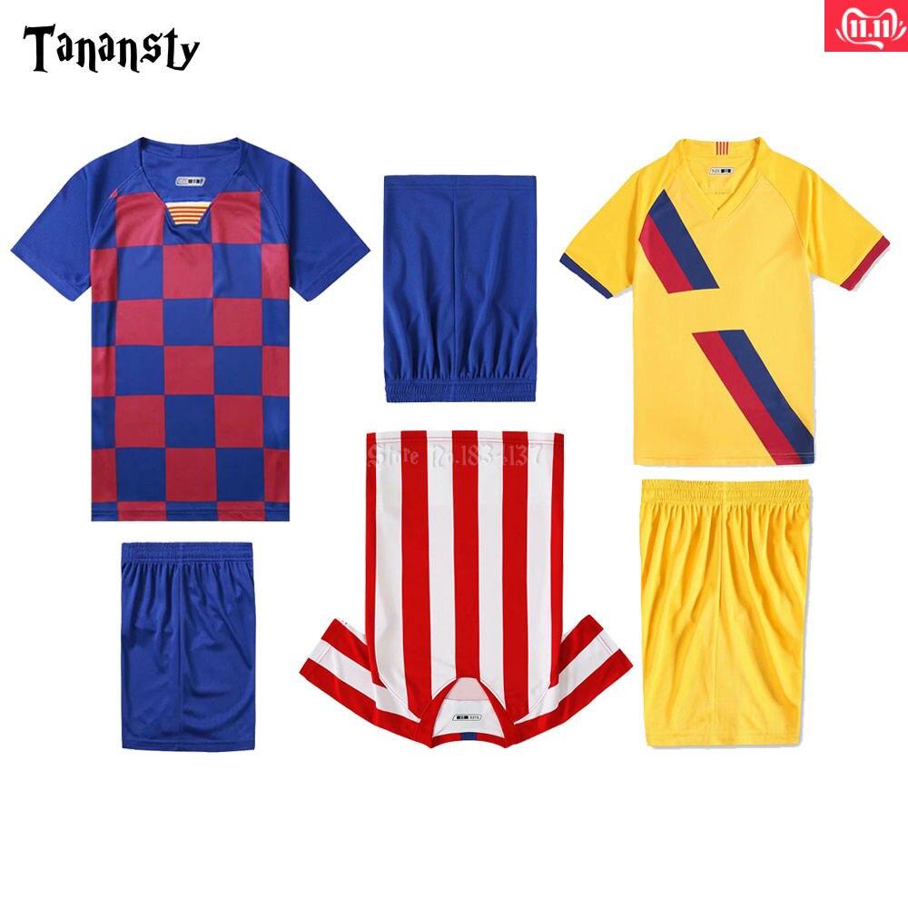 Club Soccer Jerseys Set For Kids Football Uniforms Boys 19/20 Football Jersey Girls Survetement Customize Children Sports Suits