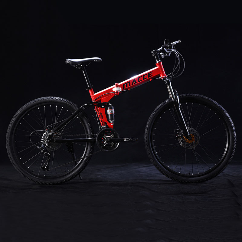 24 Inch Folding Mountain Bicycle 21 Speed Double Shock Absorption Off-Road Variable Speed Adult Student One-Wheeled Bike