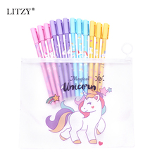 12Pcs/Lot Cute Unicorn Erasable Pens Kawaii 0.5mm Refill Erasable Gel Pen Set Washable Magical Pen School Office Stationery Gift