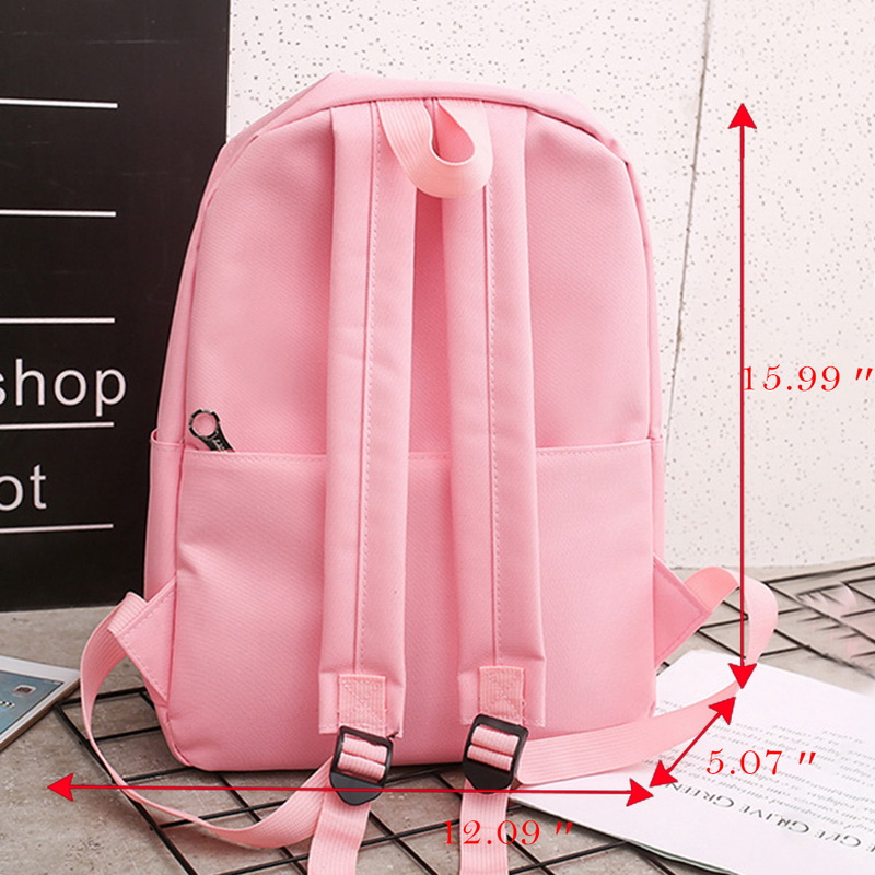 Puimentiua 4 Pcs set Girl School Bag For Teenager Solid Backpack College School bag Women High Student Bag Backpack Dropshipping in Backpacks from Luggage Bags