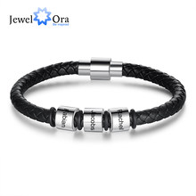 JewelOra Customized Black Leather Bracelets for Men Personalized Stainless Steel Beads Bracelet with Engraved Names Gift for Him(China)