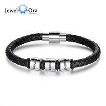JewelOra-pulsera personalizada de cuero negro para hombre, brazalete de cuentas de acero inoxidable, con nombres grabados, regalo para él