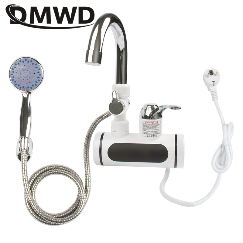 DMWD Electric Instant Hot Water Faucet Water Heater Fast Heating With LED Temperature Display Tankless Tap For Kitchen Shower EU