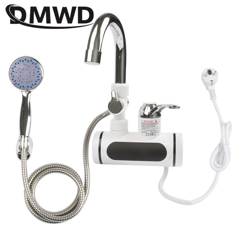 US $27.55 5% СКИДКА|DMWD Электрический мгновенный кран для горячей воды водонагреватель быстрый нагрев со светодиодным дисплеем температуры безрезервуарный кран для кухонного душа ЕС|  - AliExpress