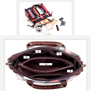 Image 5 - Gradosoo patrón de cuadros bolsos 4 juegos de cuero de las mujeres bolso mujer de hombro bolso de las mujeres bolso de LBF651