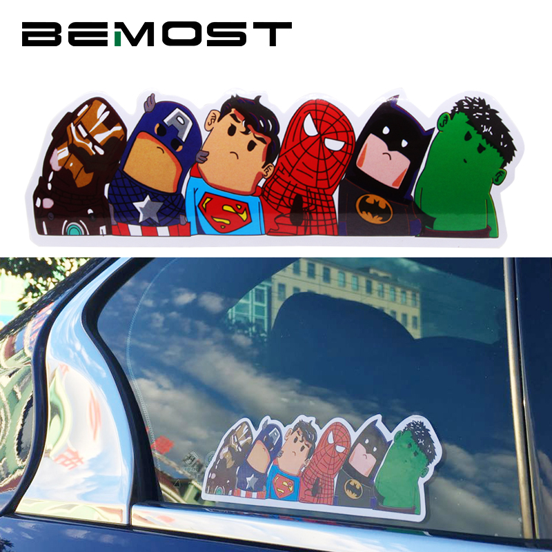 BEMOST The Avengers Wry Neck Car Sticker Cartoon Reflective Waterproof Car Styling Stickers Motorcycle Car Decal Accessories