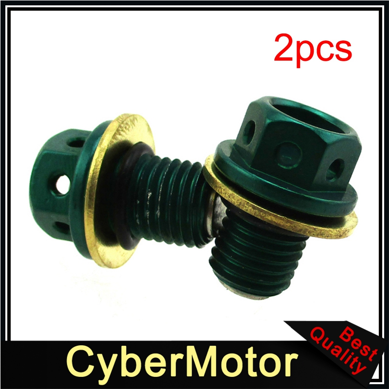 2x Green Magnetic Oil Drain Bolt Plug For 50cc 90 110cc 125cc 140cc 150cc <font><b>160cc</b></font> <font><b>Lifan</b></font> YX Zongshen <font><b>Engine</b></font> Pit Dirt Bike Quad ATV image