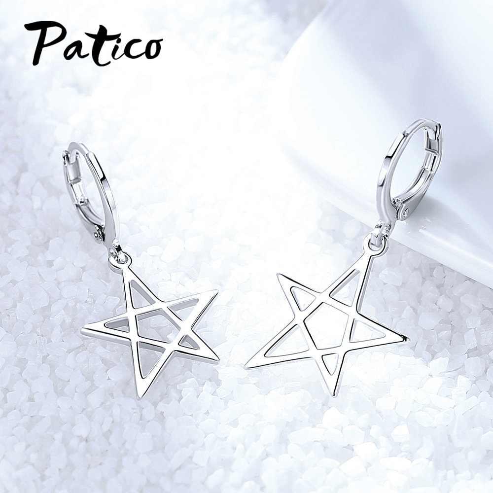 Геометрические пятиконечные звезды 925 стерлингового серебра Висячие серьги для женщин Изысканный корейский тренд пирсинг сережки Ювелирные изделия