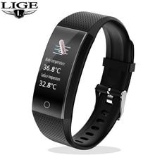 Termómetro LIGE, reloj inteligente, Monitor de presión arterial de ritmo cardíaco saludable para Android ios, Pulsera inteligente deportiva, Pulsera inteligente